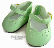 """Light Green Scalloped Dress Shoes for 18"""" American Girl Doll Clothes"""