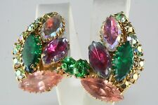 VTG OLD STORE STOCK JULIANA PASTEL MULTI COLOR GLASS & RHINESTONE CLIP EARRINGS