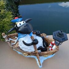 Dekofigur Schaf Molly im Boot Solarlaterne Deko Gartenteich Gartenfigur 50 cm