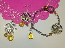 Honeycomb Bussy Bee manchester silver 925 glass bumble Earings chain bracalet  x