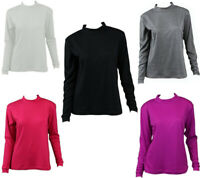 NEW Women's Cotton Skivvy Long Sleeve Top High Neck Basic Plain Core
