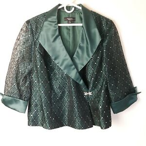 R&M Richard Woman 18W emerald green dressy jacket satin black flocked design