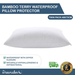 Dreamaker Soft Breathable Bamboo Terry Waterproof Pillow Protector Twin Pack