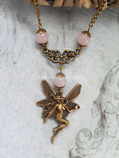Bronze Fairy Rose Quartz Gemstone Bead Chakra Necklace Boho/Wiccan/Pagan UK
