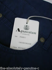 AQUASCUTUM Navy Blue CHESTER Jean Style Trousers sz 36 BNWT Slimfit ITALIAN Made