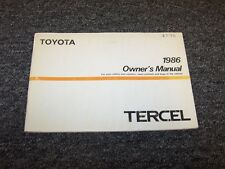 1986 Toyota Tercel Sedan Owner Owner's Operator User Guide Manual DX 1.5L