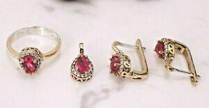 Turkish Handmade Ruby Ring Earring Pendant Sterling Silver 925 Set 6-10