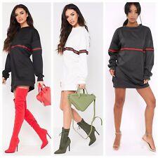 Celeb Inspired Designer Side Stripped Baggy OverSized Sweatshirt Jumper Dress