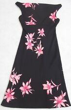 Jones New York Black Pink Purple Dress Womens Polyester 4 Sleeveless Floral Four