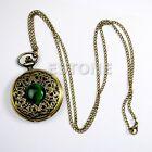 Vintage Antique Bronze Tone Pocket Chain Quartz Pendant Watch Necklace