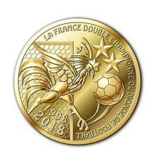 """Jeton/Médaille Souvenir Coupe du Monde 2018 """"La France double Champion du monde"""""""