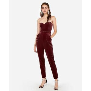 NWT Women Size 10 Express Burgundy Maroon Velvet Strapless Sweetheart Jumpsuit