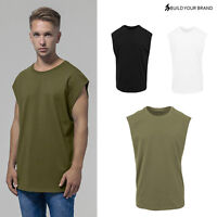 Build Your Brand Sleeveless Tee BY049-Overcut Shoulder Casual Fit Cotton T-Shirt