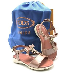 TOD'S JUNIOR Italian Patent Leather Sandals in Dusty Pink US SZ 8 Girls - NEW!