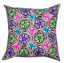 """Handmade 24"""" Cushion Pillow Cover Sofa Throw Indian Embroidered Decorative"""