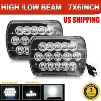 Black Pair Sealed LED Hi+Low H6054 7x6 Headlights For 90-97 Nissan Pickup