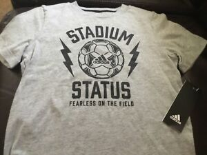NWT Boys ADIDAS  Soccer Top Shirt Sz SMALL size 6 FEARLESS ON THE FIELD   #521/6
