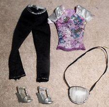 Barbie Doll Clothes - BLACK CAPRI LEGGINGS, PRINT TOP, SHOES, PURSE