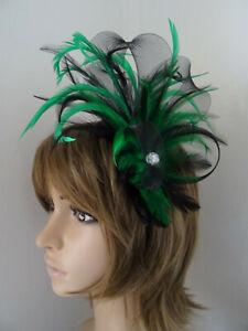 Green Emerald Green & Black Fascinator feathers loops diamante headband