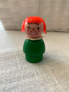 Fisher Price Little People Vintage Girl green wood bottom red hair freckles