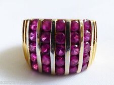 Sterling Silver 925 Gold Plate Wide Ruby Dome Ring Band sz 6.5