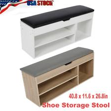 Modern Shoe Storage Stool Fashion Change Home Shoe Rack White/Wood Color