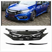 Front Bumper Mesh Hood Grille Grill for Honda Civic 10th Gen 2016 2017 2018