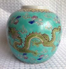 Antique Chinese Porcelain Ginger Jar With Two Dragons Signed