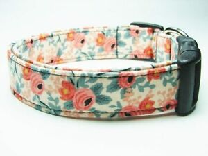 Rosa Peach Rifle Paper Co. Les Fleurs for Cotton and Steel Dog Collar
