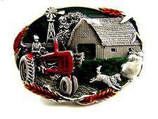 1981 Farmer Tractor Barn Wind Mill Belt Buckle by Bergamont
