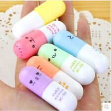 6pcs Cute Mini Smiling Face Pill Highlighter Lovely Cartoon Painting Marking Pen