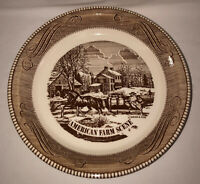 "Royal China Jeannette CURRIER & IVES LT BROWN 10"" PIE PLATE*AMERICAN FARM SCENE*"