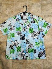 Aloha Shirt Light Blue Flower Women Large 2 pocket