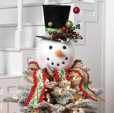 "RAZ Imports 14"" Red Green Snowman Head Tree Topper Black Top Hat Plaid Christmas"