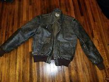 VTG Banana Republic Dark Brown Leather Jacket Coat Bomber sz 44 Long distressed