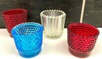 Vtg Hobnail & Ribbed Glass Votive Candle Holder Lot of 4 Ruby Red Clear Blue