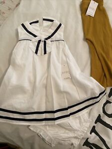 Baby Girls 9-12 Months White Dress Matalan New Cotton Sleeveless