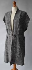 Ladies Karen Millen Grey Wool Blend Sleeveless Long Cardigan With Belt Size UK12