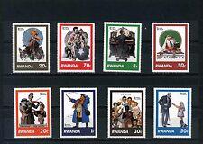Rwanda 1981 Sc#1027-1034 tableaux par Norman Rockwell Ensemble de 8 TIMBRES MNH