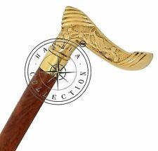 Vintage Style Wooden Walking Stick Designer Cane Solid Brass Victorian Handle