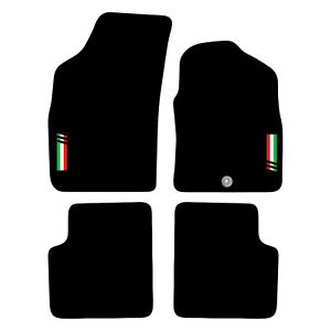 Fiat 500 2008 to 2012 Tailored Carpet Car Floor Mats with logo 1 Clip