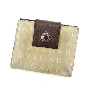 Bvlgari Wallet Purse Logo Mania Beige Brown Woman Authentic Used Y4929
