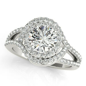 1 Carat Halo Dome shaped Interwined Engagement Diamond Ring In 14k Solid Gold