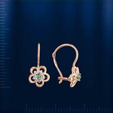 Russian rose gold 585 /14k KIDS emerald diamond flower earrings hook NWT