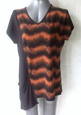 TS Taking Shape Top, Black and Brown/Rust, Uneven Hem Cap Sleeves, Size XXS - 12