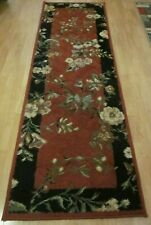 Kathy Ireland Home Runner Rug Carpet Red Black White Flowers 7'8''x2'6'' Shaw