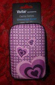 Vivitar Hard Shell Camera Case - Small to mini camera size Pink Heart Fabric New