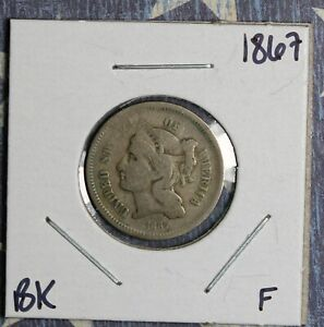 1867 THREE CENT NICKEL COLLECTOR COIN FREE SHIPPING