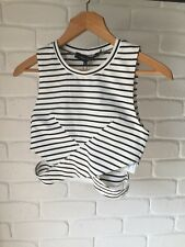 BNWT The Fifth 'Starstruck' Cropped Top Cut Out Sides Sz S Black White Stripes