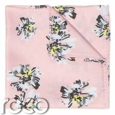 Boys Dusky Pink Hanky, Boys Floral Print Pocket Square, Boys Handkerchief